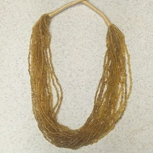 Yellow gold sead bead necklace 20 inch